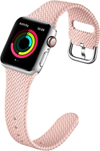 GEAK Compatible with Apple Watch Band 40mm Women Men Series 6, Comfortable Flexible Textured Weave Pattern Sport Wristband for Apple Watch SE 38mm Series 6 5 4 3 2 1, Sand Pink
