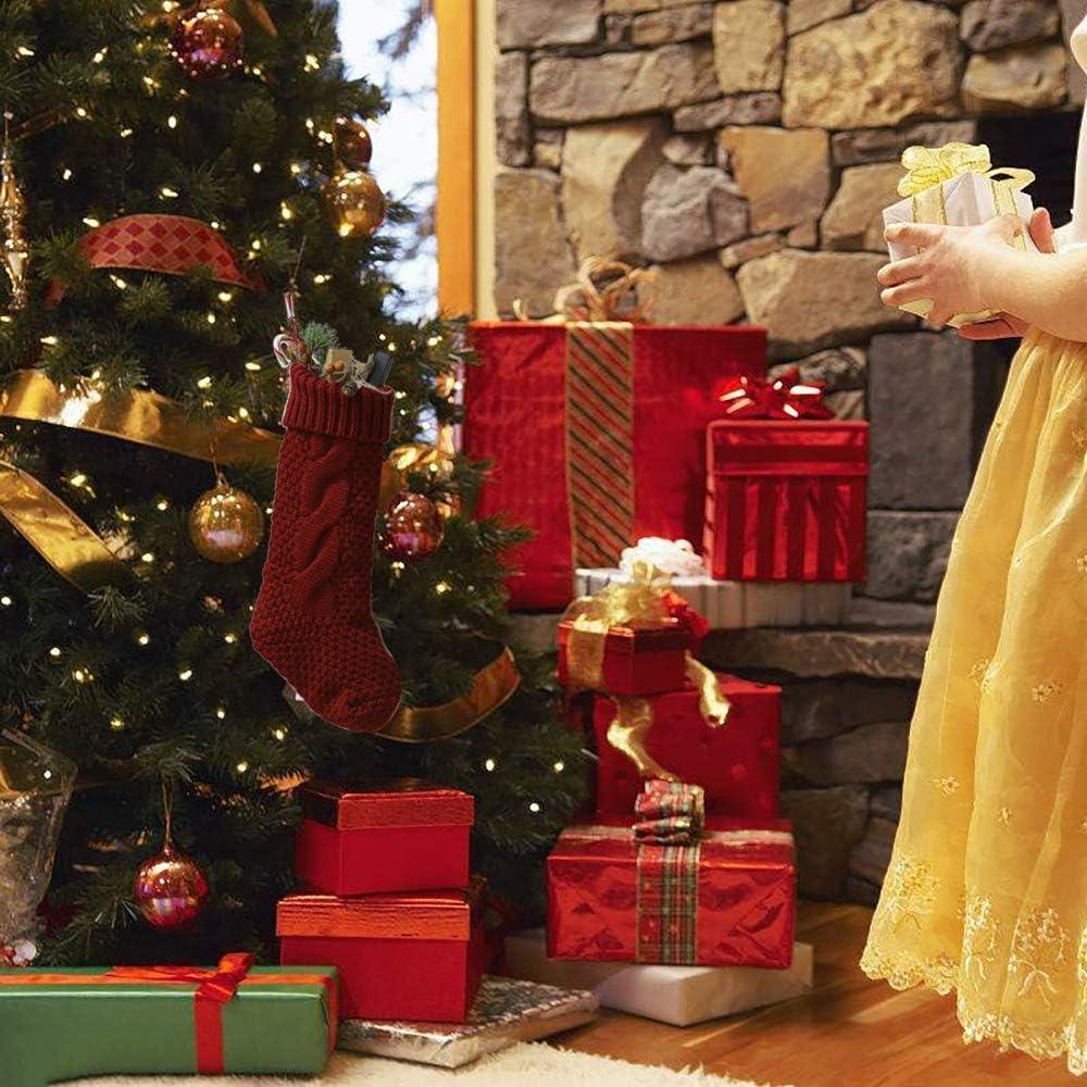 45CM Gro/ße Gr/ö/ße Gestrickte Wolle Weihnachten Strumpf Nikolausstiefel Einzigartige Strickstr/ümpfe Kqpoinw Weihnachtsstrumpf Rot