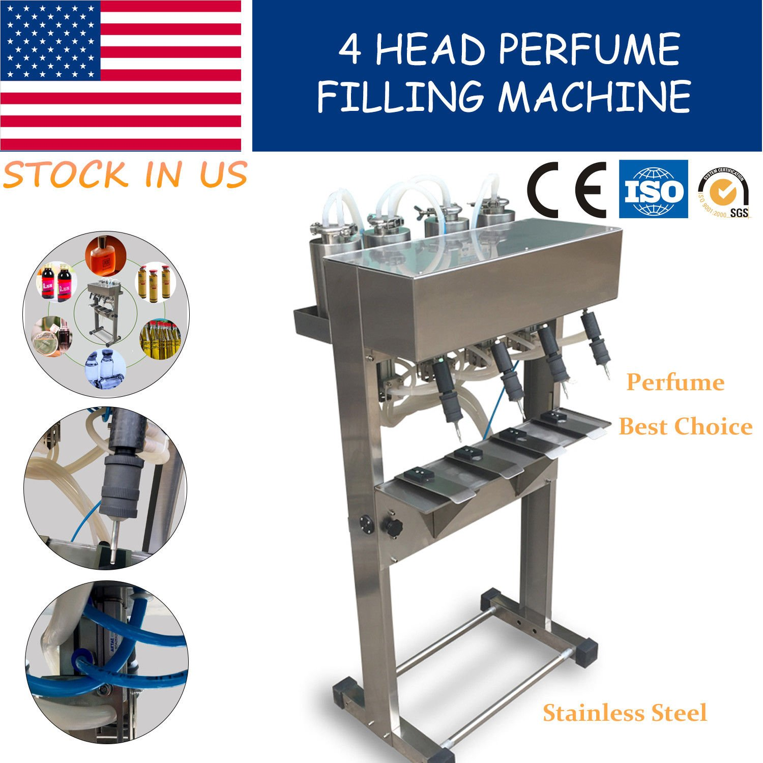 YT-4 head perfume filling machine,pneumatic vacuum liquid filler USA Stock by Youlian