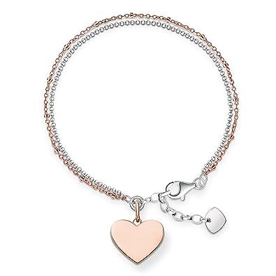 3dc0b899f760c Thomas Sabo Women-Bracelet Love Bridge 925 Sterling Silver 18k rose gold  plating Length from 16 to 19.5 cm LBA0102-415-12-L19