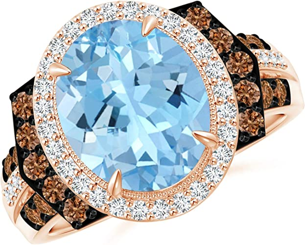 3ct Oval Morganite /& Dia Wedding Trio Halo Ring Bezel Set 14k Two-Tone Gold Over