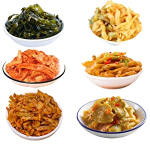 HELENOU666 Pickled Vegetables Preserved Kelp Dried Seaweed Spicy Radish Zhacai 6-Flavor Assortment 6味组合榨菜海带丝麻辣萝卜干