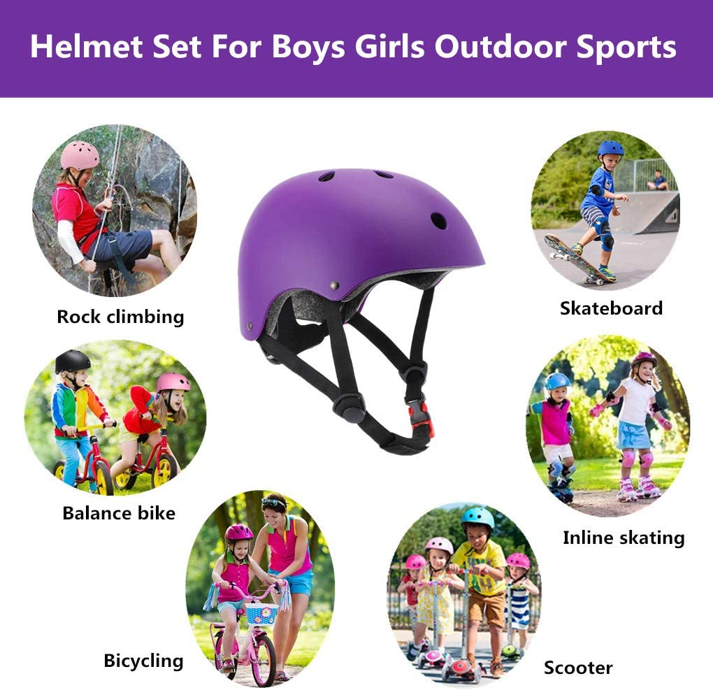 Purple Toddler Protective Gear Set Knee Elbow Wrist Guards Pads Helmets for Children Cycling Roller Skating Scooter Skateboard SZHZS Kids Bike Adjustable Helmet for Age 3-5-8 Years Old Boys Girls