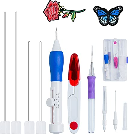 Embroidery Pen Punch Needle Magic Embroidery Pen Set Embroidery Pen Punch Needle Embroidery Punch Craft Tool Set for DIY Sewing