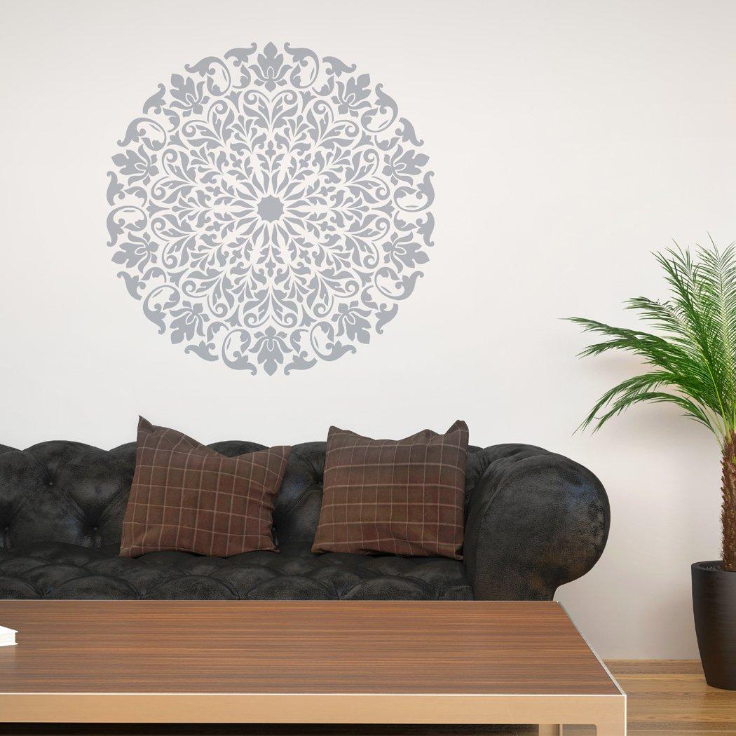 J BOUTIQUE STENCILS Mandala Stencil Tribal Pattern Surat for DIY Wall Decor Modern Home Decorative Stencils (38cm in diameter)