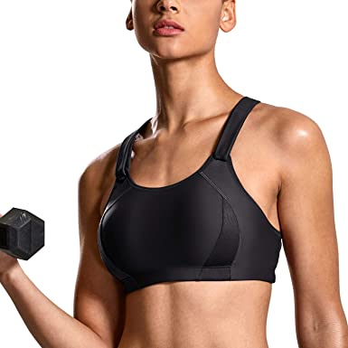 eb28476a3a938 SYROKAN Women s Front Adjustable Lightly Padded Shock Control High Impact Sports  Bra Black New 32B