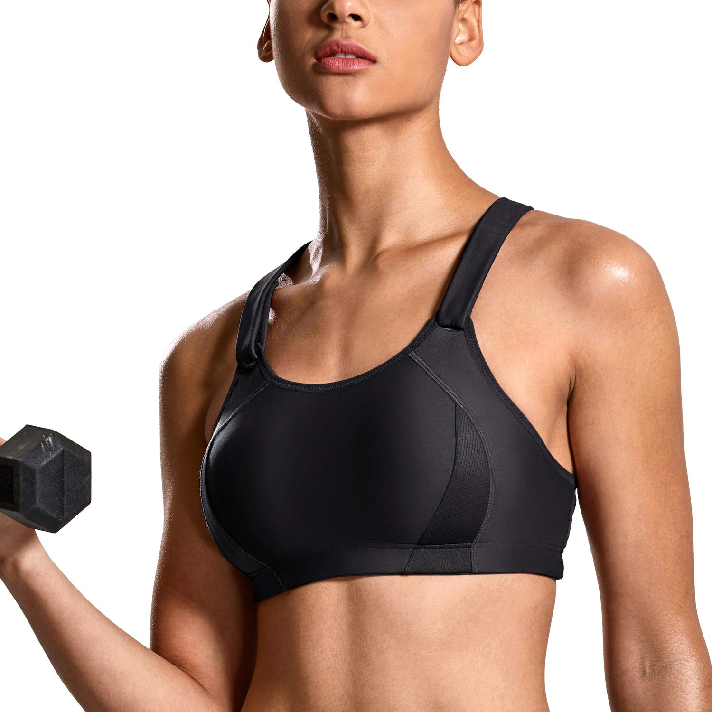SYROKAN Women's Front Adjustable Lightly Padded Shock Control High Impact Sports Bra Black_New 32B