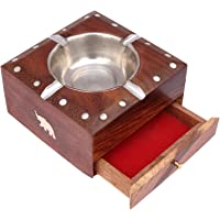Craftland Handmade Wooden Square Shape Ashtray with Cigarette Holder 4 Slots for Office car Home.