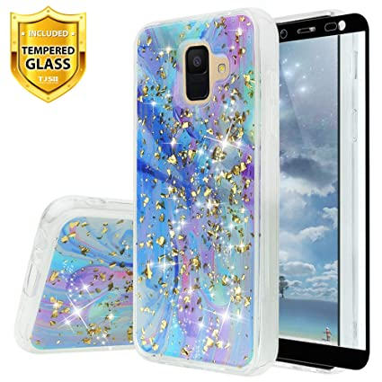TJS Case Compatible for Samsung Galaxy A6 2018, with [Tempered Glass Screen Protector] Shiny Marble Glitter Ultra Thin Back Skin Full Body Protective ...