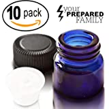 1ml (1/4 dram) Mini Cobalt Blue Glass Refillable Sample Vial Bottles with Orifice Reducer and Cap for Essential Oils, Colognes & Perfumes, Includes FREE eBOOK of Essential Oil Mini-Blends (10 Pack)