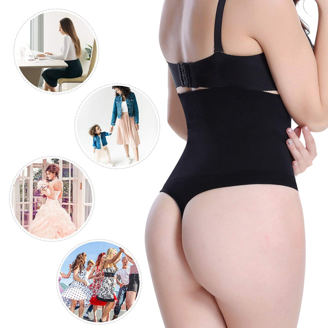 Bafully Women Butt Lifter Shapewear Hi-Waist Tummy Slimmer Thong Panty Seamless Body Shaper Shorts