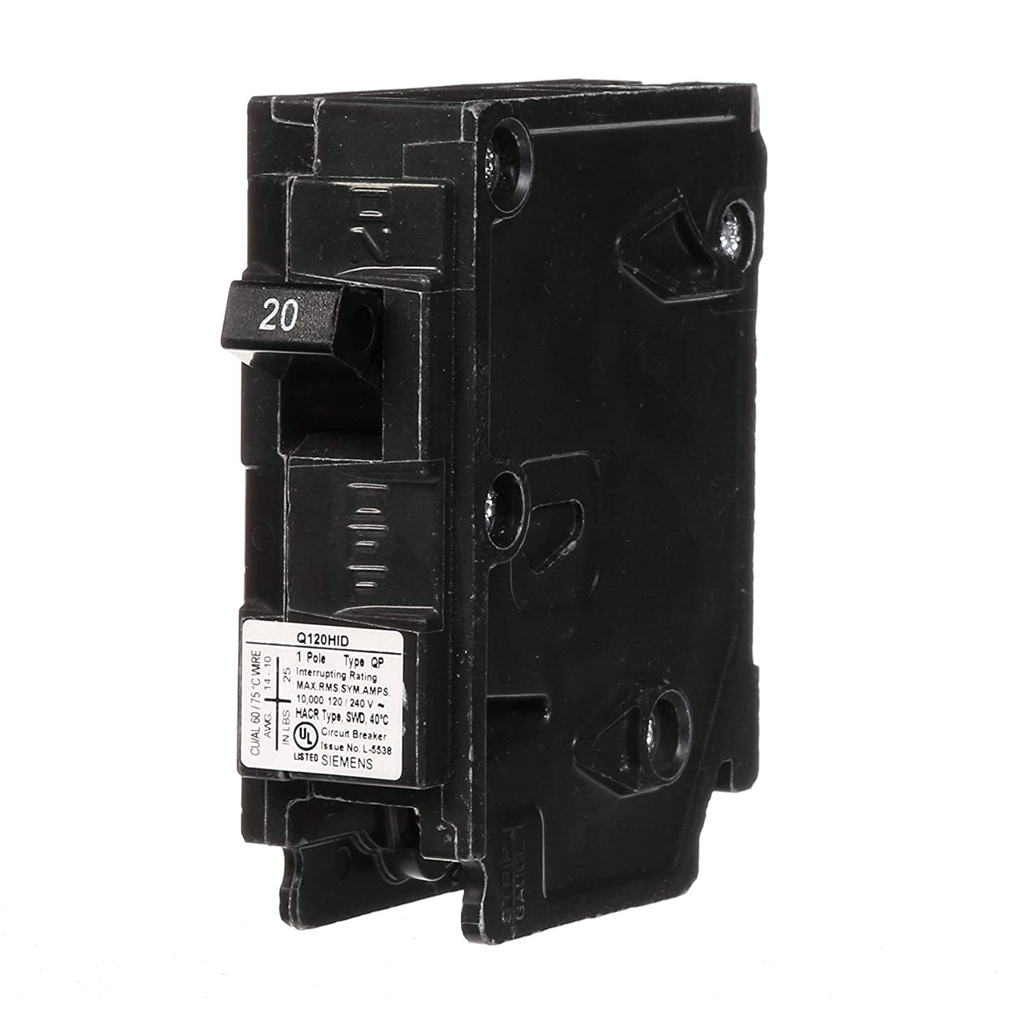 Siemens Q120HID Circuit Breaker, 20 Amp, Single Pole, for use with HID Lighting Siemens -HI