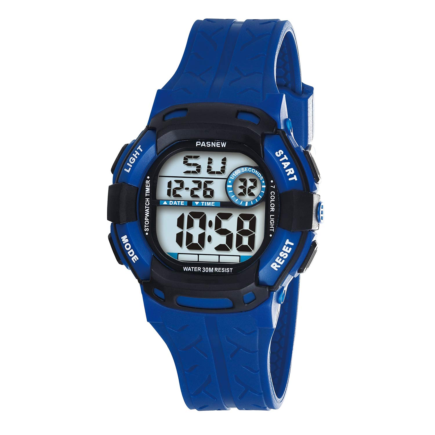 PASNEW Kids Watches Waterproof 100FT Digital Sports Wristwatch with 7-Color Flashing LED Light Alarm Stopwatch Chime Date Day Blue Black