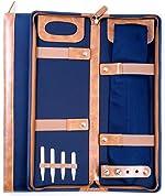 Men's Blue Ballistic Nylon Travel Necktie Tie Case Holder & Collar