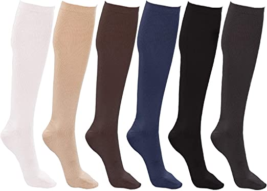 Women's Trouser Socks, Opaque Stretchy Nylon Knee High, Many Colors, 6 or  12 Pairs at Amazon Women's Clothing store