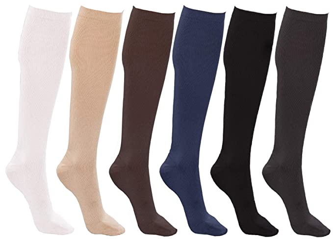 444535d50c877 Women's Trouser Socks, 6 Pairs, Opaque Stretchy Nylon Knee High, Many Colors