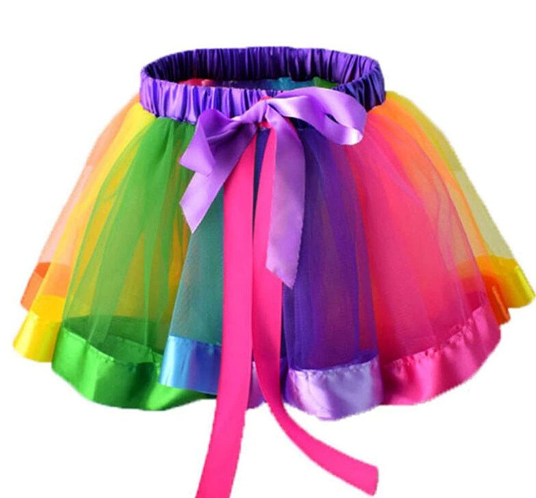 Freezing Girls Rainbow Skirt Cute Tutu Dance Ballet Party Dress