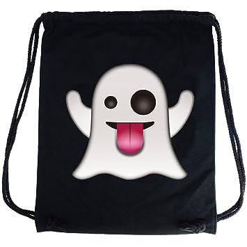 PREMYO Mochila con cuerdas Emoji Fantasma. Bolsa de cuerdas negra 100% algodón con impresión