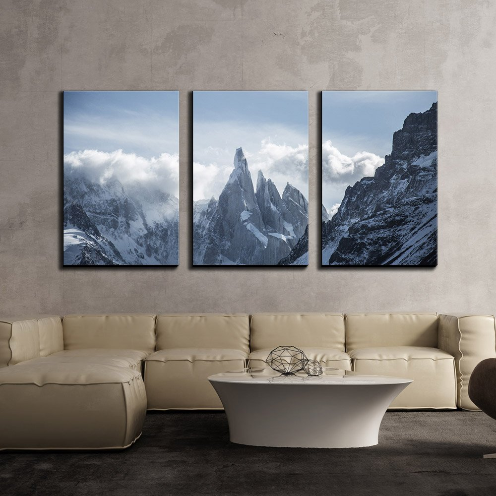 wall26 - 3 Piece Canvas Wall Art - Mountain Covered with Snow,Cerro Torre,South America - Modern Home Decor Stretched and Framed Ready to Hang - 16''x24''x3 Panels