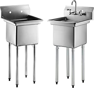 One Compartment Commercial Sink | Single Bowl | NSF 18 Gauge 304 Stainless Steel | Utility & Prep Sinks for Restaurants, Laundry, Janitorial, Kitchen, Store, Pet washing, etc