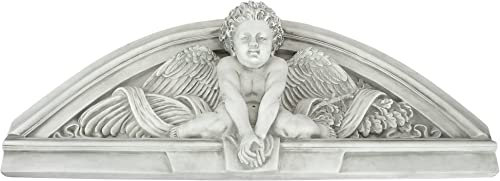 Design Toscano Cherubs Grande Welcome Sculptural Wall Pediment