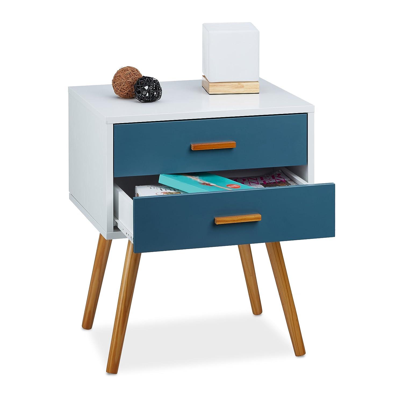 Relaxdays–Cómoda Retro Style Design nórdico escandinavo 2cajones Armario HxBxT: 58x 41x 48cm, Lacado Mate Blanco Turquesa 10020346