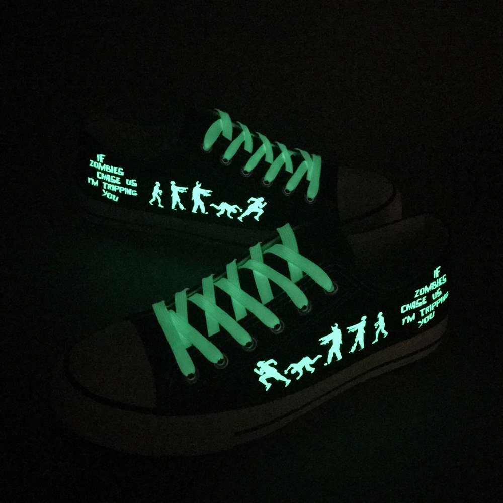 E-LOV Black Luminous Zombies Printing Canvas Shoes Low Cut Sneakers Lace up Funny Casual Shoes Glow in Dark for Men Gift Idea by E-LOV (Image #6)