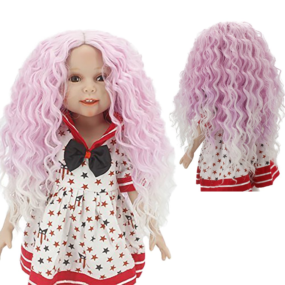 Wigs Only!Purple Ombre Kinky Curly Doll Wig Heat Resistant Hair for 18inch American Girl Doll with 10-11 Head Leeswig