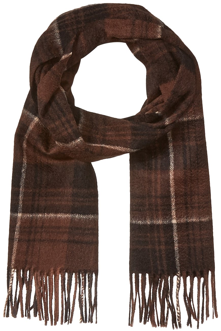 Phenix Cashmere Men's Windowpane Stripe Scarf, Brown/Black, One Size