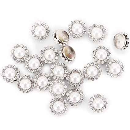 8dd58ca18 100Pcs Crystal Pearl Buttons, Round Flatback Rhinestone Beads Buttons with  Diamond, DIY Craft Sewing