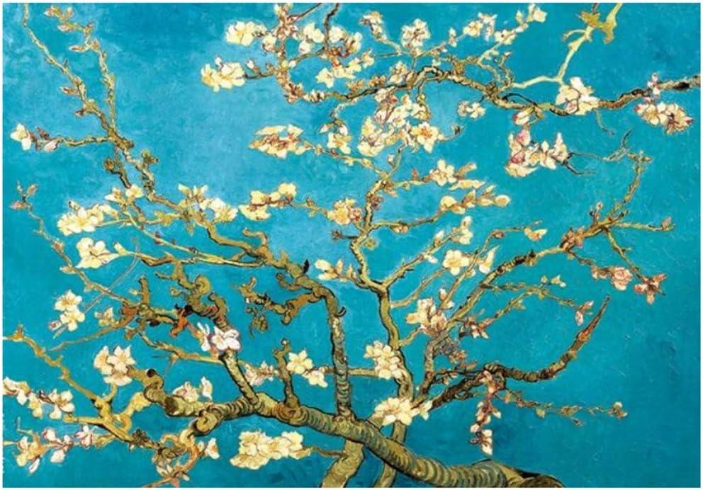 Cuadro en lienzo Flor de almendro Pinturas en lienzo Flores impresionistas Arte de la pared Carteles e impresiones 40x60cm Con marco Azul