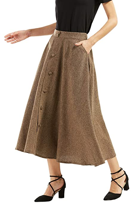 1940s Style Skirts- Vintage High Waisted Skirts chouyatou Womans Vintage High Waist Front Button Long Skirt with Pockets $39.90 AT vintagedancer.com