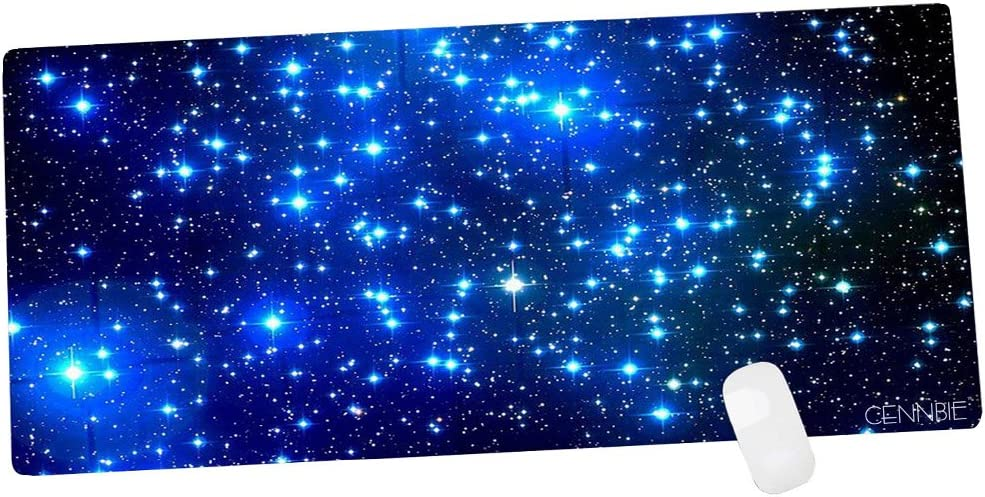 Edge Stitched CENNBIE Galaxy Extra Large XXL Gaming Mousepad Non-Slip Rubber Oblong Mousepad for Computer Desk Stationery Accessories 35.4 x 15.5in