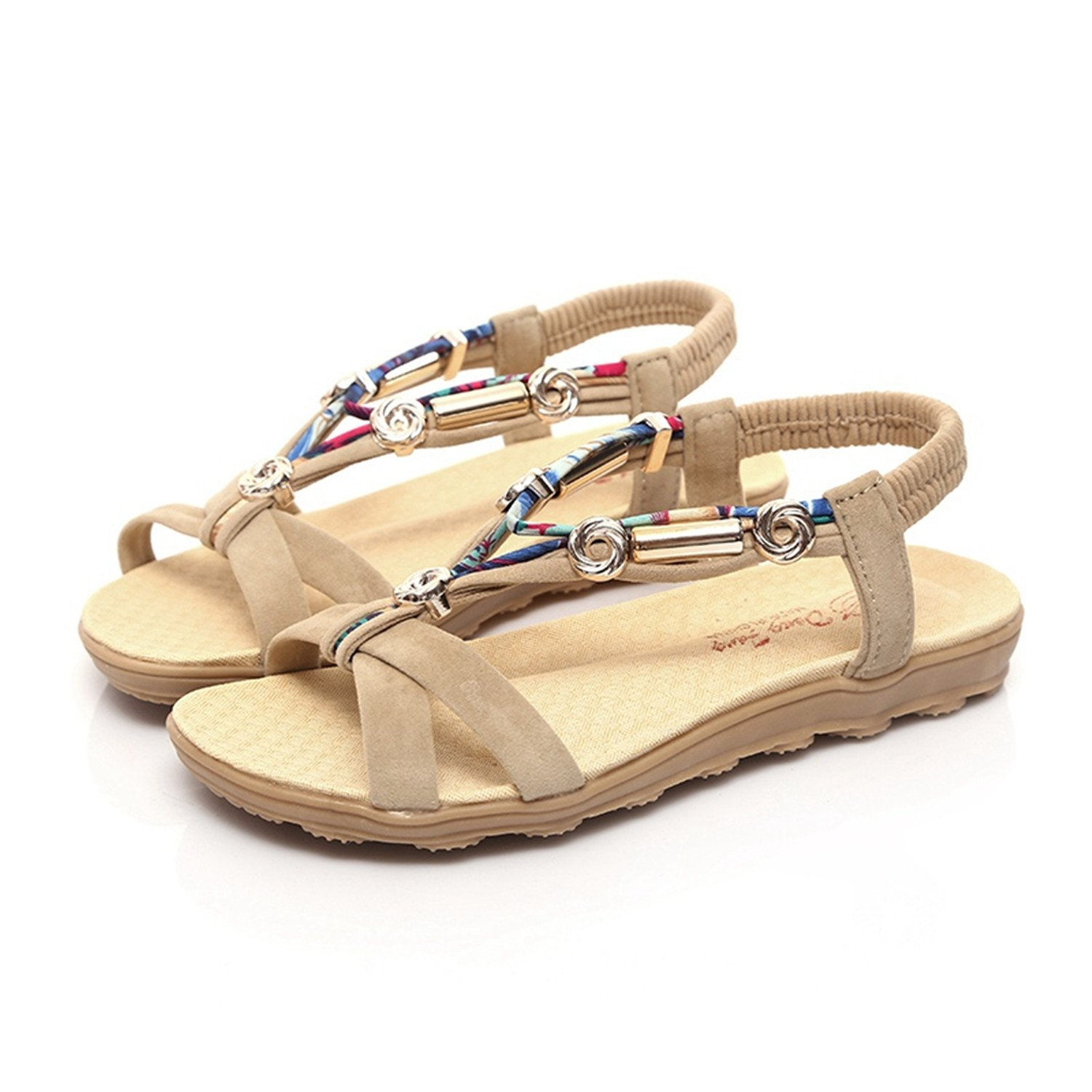Women Sandals Women Flats Sandals Fashion Flip Flops Shoes Comfortable Women Shoes Casual Ladies Sandals B07C9MXS3B 7 B(M) US|Beige