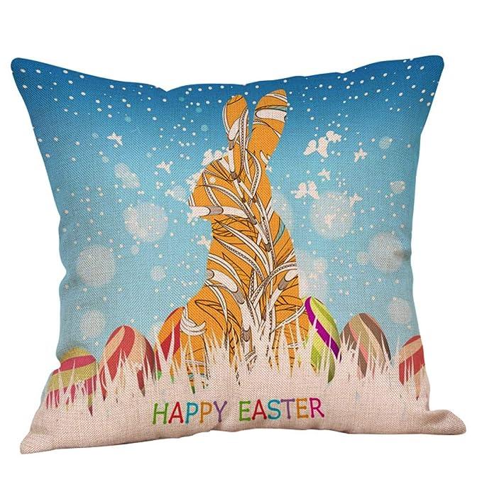 NPRADLA Cojín Fundas Happy Easter Bunny Funda de Almohada Sofá de Lino Funda de cojín Decoración para el hogar Funda de Almohada Cushion Cover 45 * 45cm: ...
