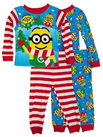 9b3b06c7151d37 Image Unavailable. Image not available for. Color  Despicable Me Toddler  Boys 4-Piece Christmas Minions Sleepwear ...