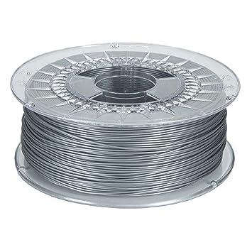 MadridGadgetStore® Filamento PLA 1.75 mm 1.75mm Plata Ingeo ...
