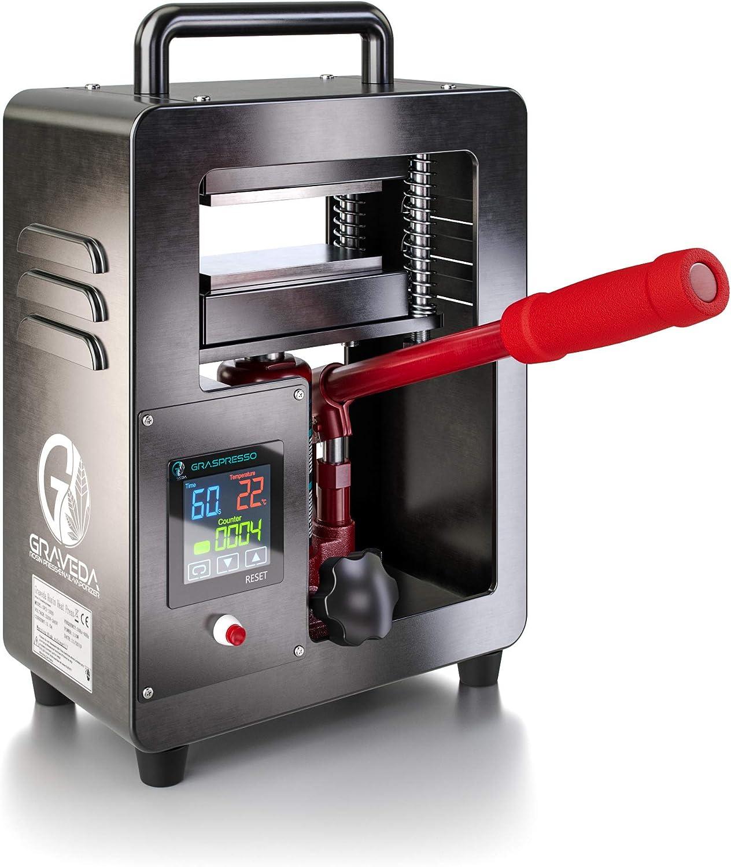 Prensa de Rosin Cilindro hidr/áulico de 5 toneladas Placas de 12 x 6 cm Graveda Graspresso Prensa de Resina