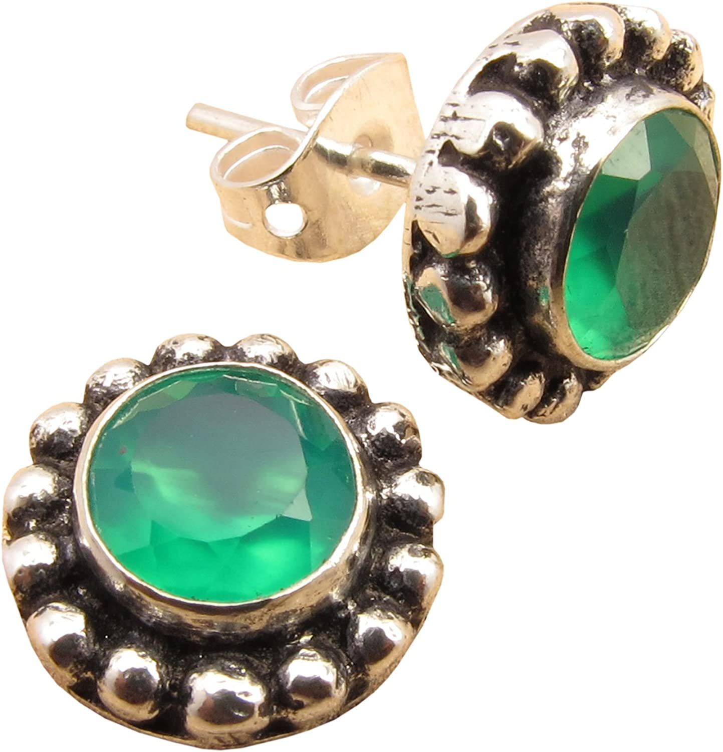"""Collectible GREEN ONYX 925 Sterling Silver FACTORY DIRECT Cute Earrings 1/"""""""