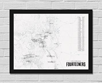 Amazon Best Maps Ever 58 Colorado 14ers Map FRAMED 18x24 Poster