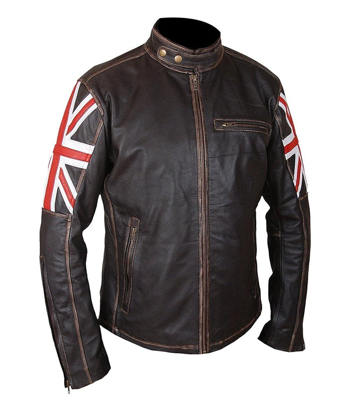 UK Flag Cafe Racer Union Jack Genuine Antique Brown Motorcycle Leather Jacket