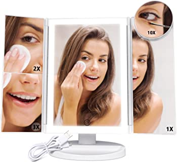 F-color Trifold High Brightness Lighted Vanity Mirror