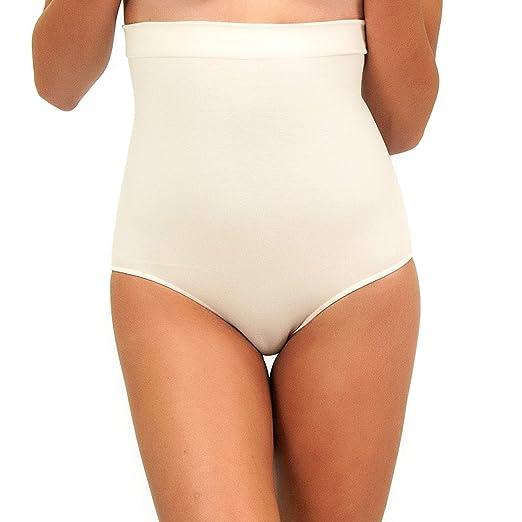 baa3a506b3 Urbamboo Natural Seamless Brief Anti-Slip Hi-Waist Panty Hi-Cut Bamboo Tummy  Belly Shaper Underwear at Amazon Women s Clothing store