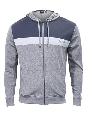a0d91a8e216f Hugo Boss Homeleisure Hooded Medium Grey Cotton Jersey Sweatshirt Jacket  Sz  S