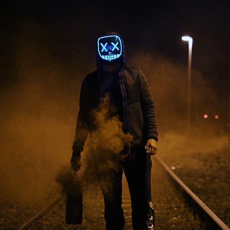 XDDIAS Halloween Masques LED Masque pour No/ël Halloween Cosplay Masque De Purge pour Festival Cosplay Costume dhalloween, Blue Light, 4 Modes