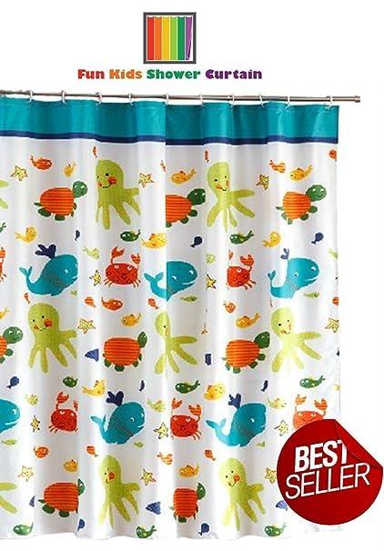 Amazon.com: Fun Kids Fabric Bathroom Shower Curtain with 12 Plastic ...