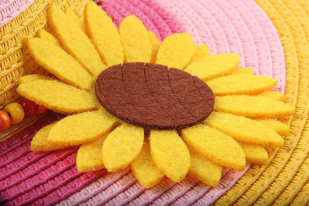 Dantiya Kids Stripe Large Brim Flower Straw Beach Sun Hat for Girls Pink