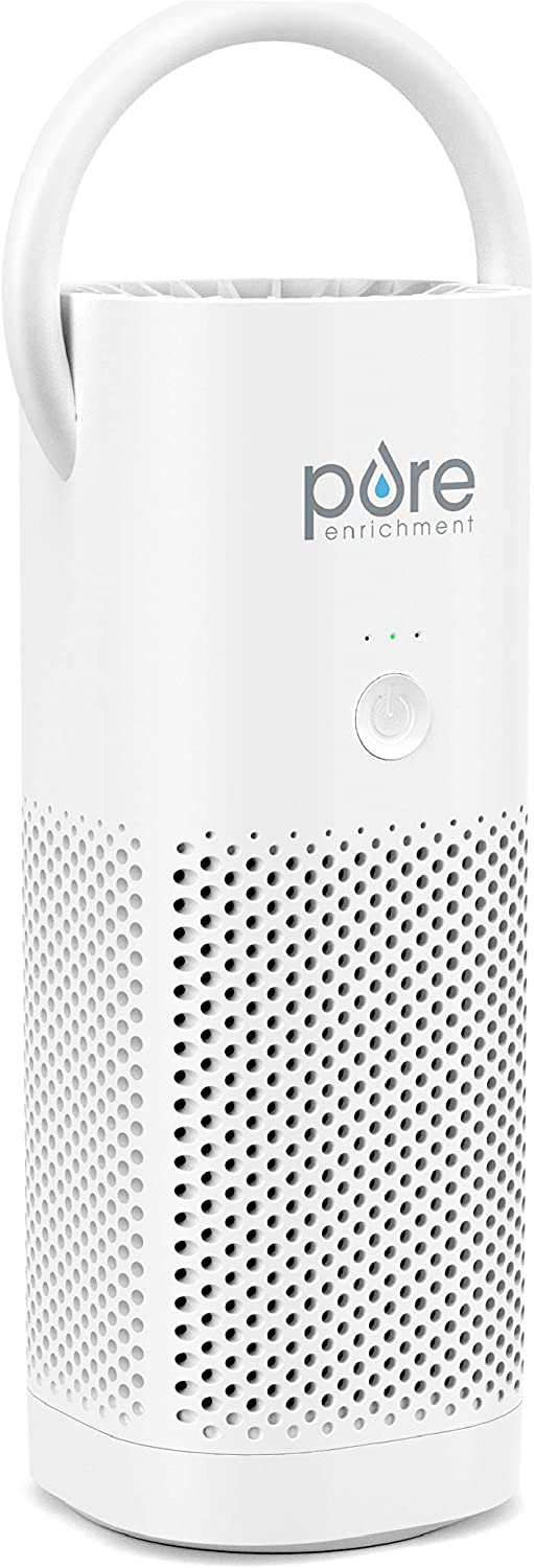 Pure Enrichment PureZone Mini Portable Air Purifier - True HEPA Filter Cleans Air, Helps Alleviate Allergies, Eliminates Smoke & More — Ideal for Traveling, Home, and Office Use (White)