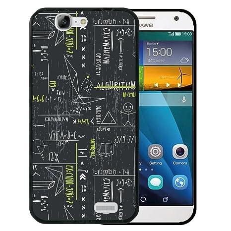 WoowCase Funda Huawei Ascend G7, [Huawei Ascend G7 ] Funda Silicona Gel Flexible Fórmulas Matematicas Verde, Carcasa Case TPU Silicona - Negro
