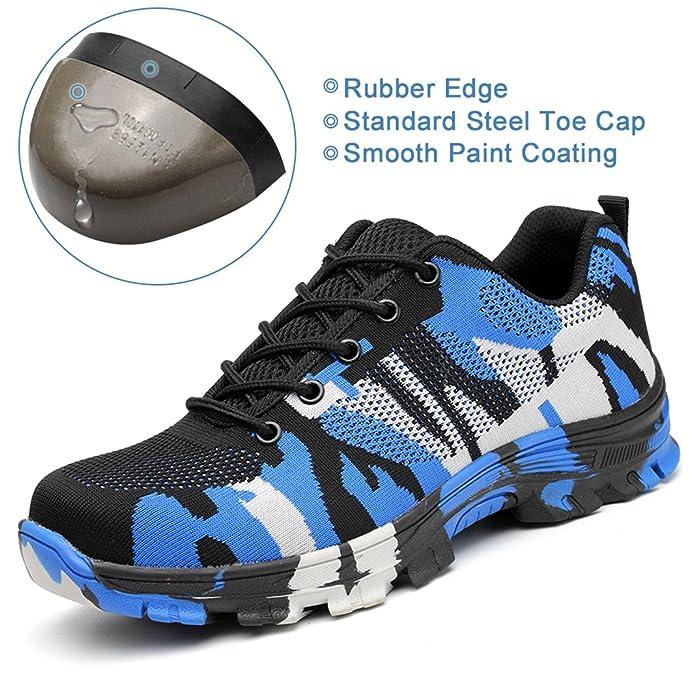 SUADEX Damen Herren Sicherheitsschuhe Sportlich Trekking Wanderhalbschuhe Stahlkappe Arbeitsschuhe Hiking Schuhe Traillaufschuhe, 02-grün, 44 EU